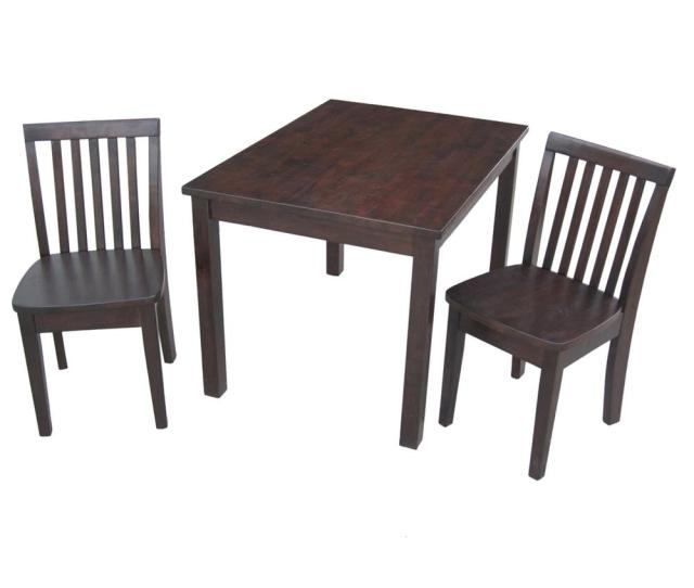 International Concepts 3 Piece Mocha Childrens Table And Chair Set