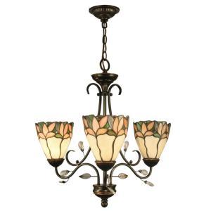 Springdale Lighting Crystal Leaf 3 Light Antique Bronze Hanging Chandelier Fth10005 The Home Depot