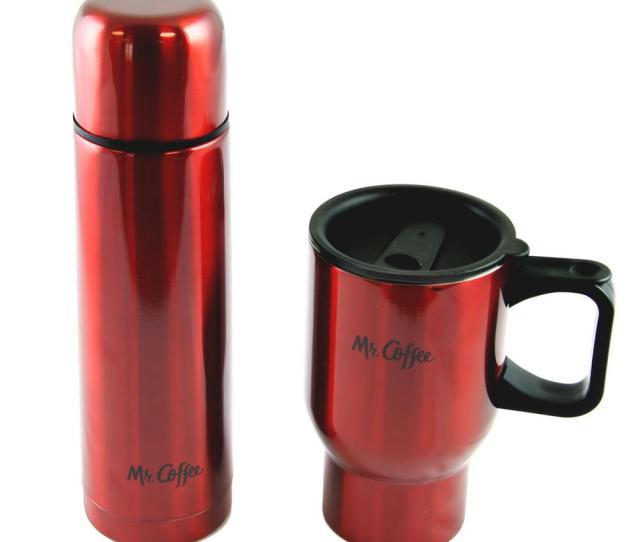 Mr Coffee Javelin  Oz Red Double Wall Thermos And Travel Mug Gift Set