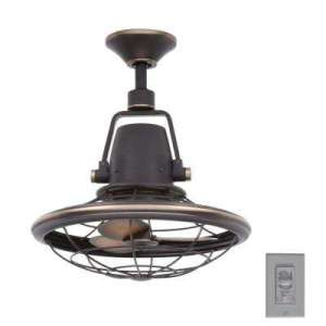 8 Blades   Rustic   Ceiling Fans   Lighting   The Home Depot Indoor Outdoor Tarnished Bronze Oscillating Ceiling Fan with Wall Control