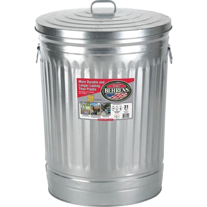 Behrens 31 Gal. Galvanized Steel Round Trash Can with Lid