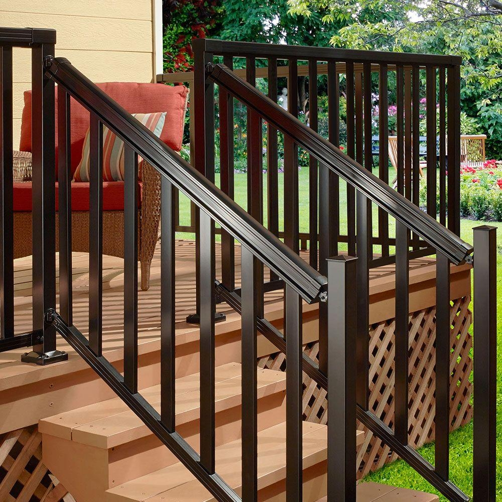 Peak Aluminum Railing Black 6 Ft Aluminum Stair Hand And Base | Outside Stair Railing Installation | 3 Step | Rail | Painted Porch | Sunroom | Door Offset