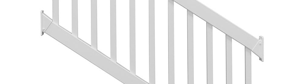 Weatherables Naples 3 Ft H X 8 Ft W White Vinyl Stair Railing | Home Depot Handrails For Outdoor Steps | Wrought Iron Stair | Pressure Treated | Porch Railings | Metal | Railing Ideas