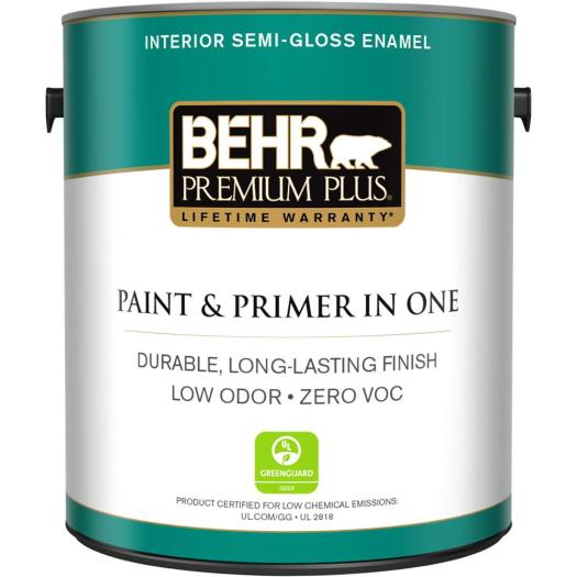 Behr Premium Plus 1 Gal Ultra Pure White Semi Gloss Enamel Zero Voc Interior Paint And Primer In One 305001 The