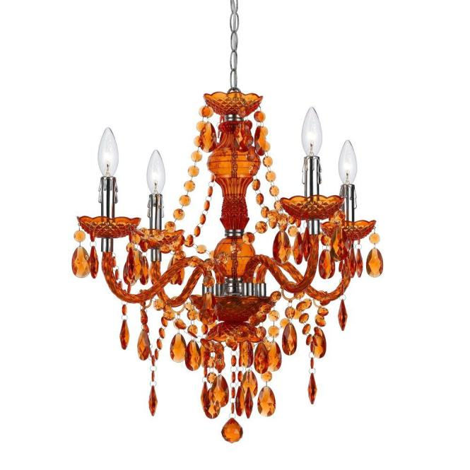 Af Lighting Naples 4 Light Chrome Mini Chandelier With Orange Plastic Bead Accents