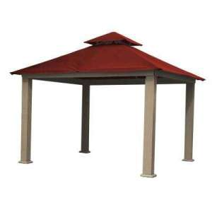 Patio   Gazebos   Sheds  Garages   Outdoor Storage   The Home Depot 12 ft  x 12 ft  ACACIA Aluminum Gazebo with Red Canopy