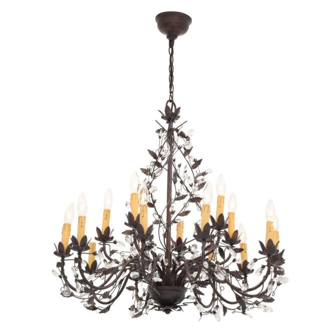 Hampton Bay 15 Light Tuscan Copper Hanging Chandelier Y35048 163 The Home Depot