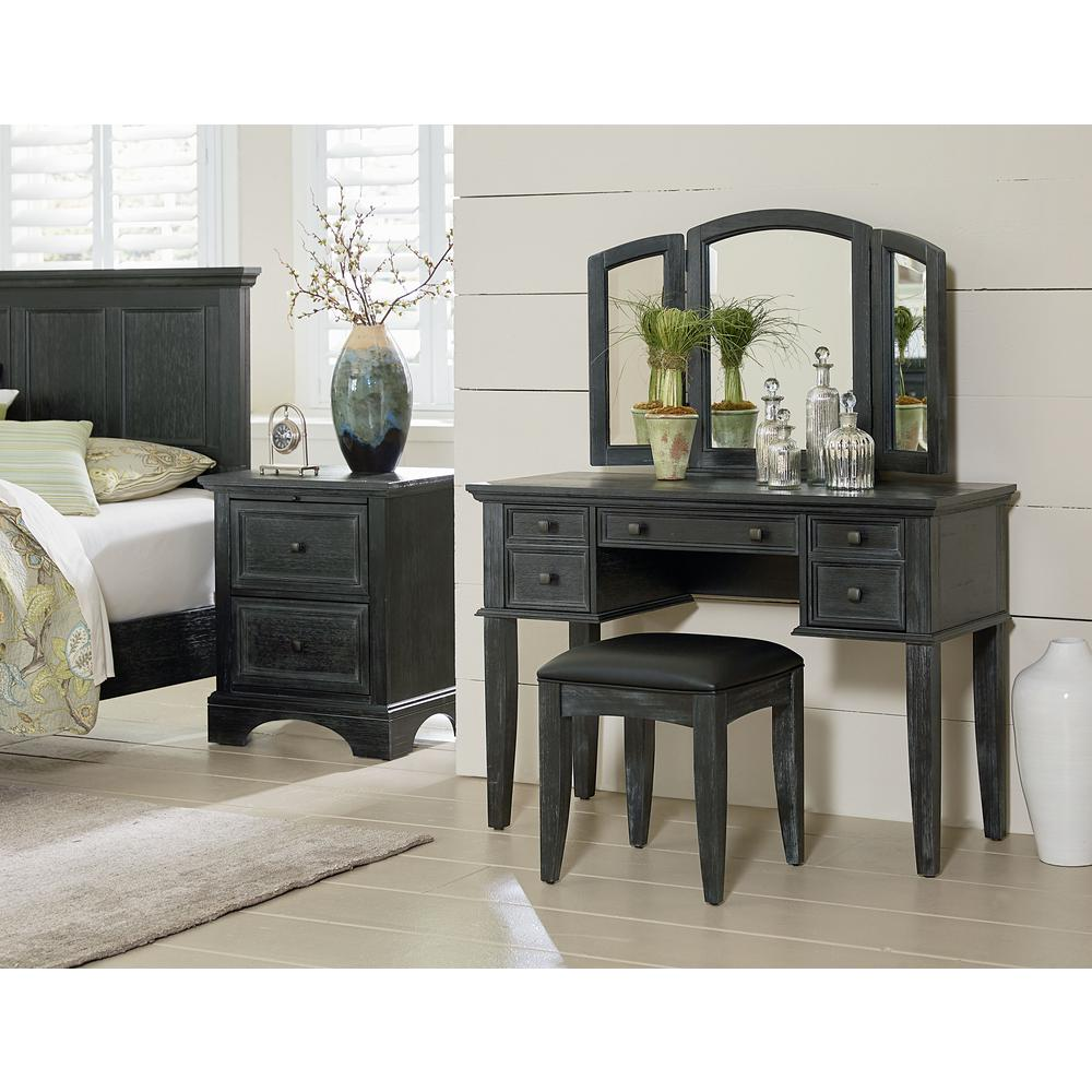 osp home furnishings farmhouse basics rustic black queen bedroom set with 2 nightstands 1 chest and 1 vanity and bench 8 pieces bp 4200 215b the