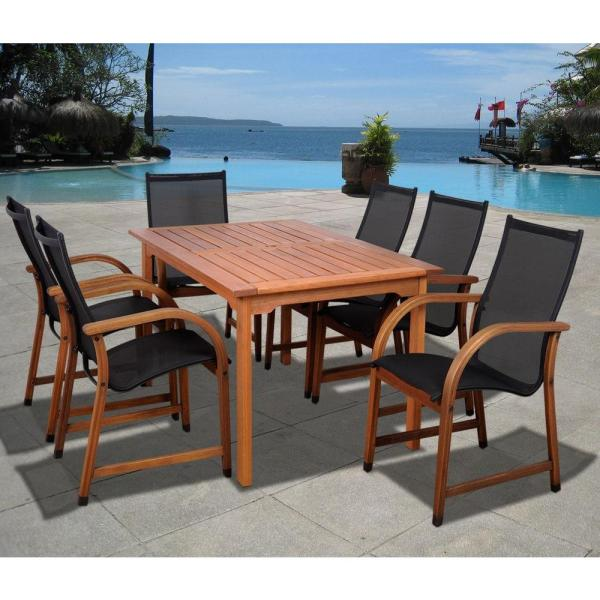 Amazonia Bahamas Eucalyptus Wood 7 Piece Rectangular Patio Dining     Amazonia Bahamas Eucalyptus Wood 7 Piece Rectangular Patio Dining Set