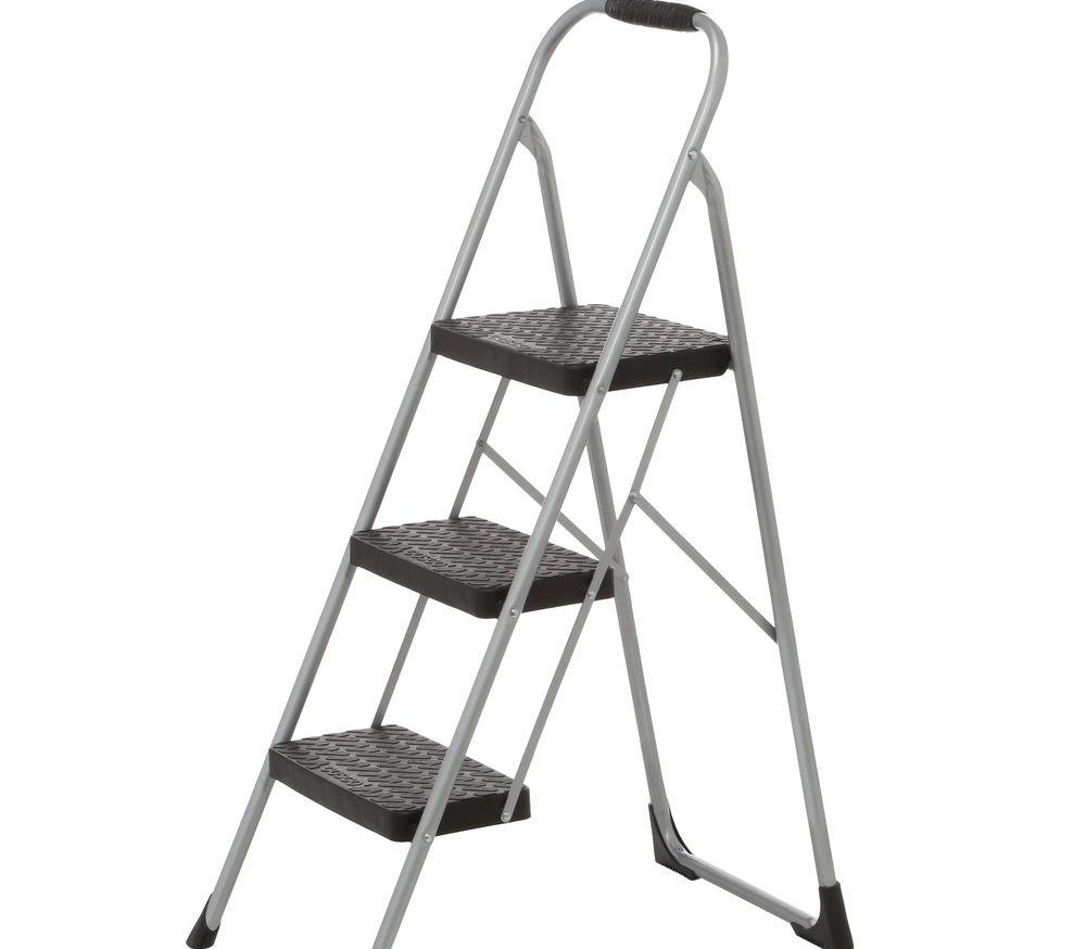Cosco 3 Step Steel Big Step Stool Ladder With Large Front Feet And | Metal Steps Home Depot | Roofing | Galvanized Steel | Step Stool | Gorilla Ladders | Wrought Iron Railings