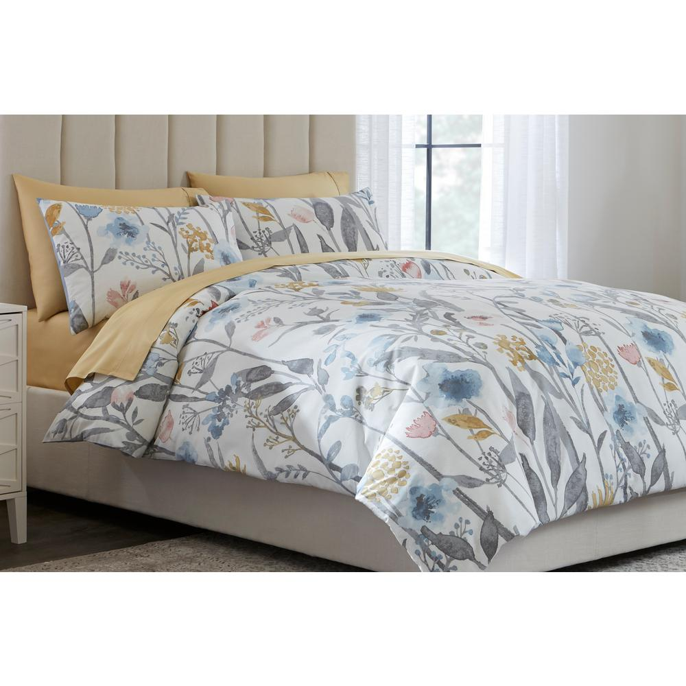 Home Decorators Collection Purcell 3 Piece Washed Denim Botanical King Duvet Cover Set Fa94367 K The Home Depot