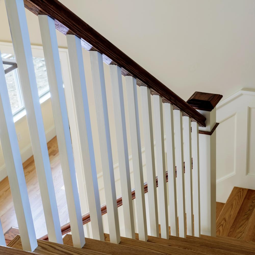 Stair Parts 6510 8 Ft Unfinished White Oak Stair Handrail 6510W | Home Depot Hand Railing Interior | Stair Treads | Staircase | Box Newel Post | Railing Systems | Iron Railings