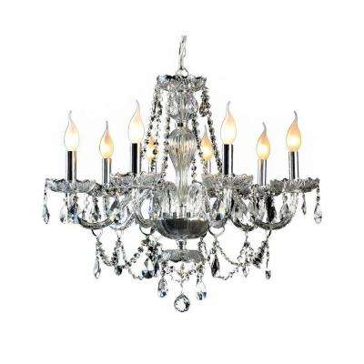 8 Light Crystal And Chrome Chandelier