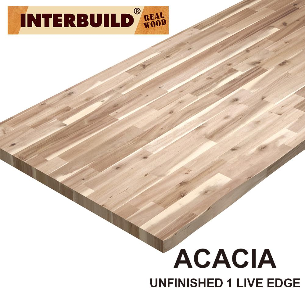 Interbuild Unfinished Acacia 6 Ft L X 25 In D X 2 In T Butcher Block Countertop With Live Edge Pnl03106 The Home Depot
