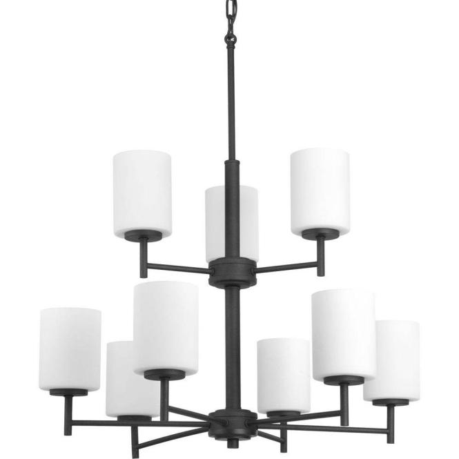 Progress Lighting Replay Collection 9 Light Black Chandelier With Shade Etched Fluted Glass