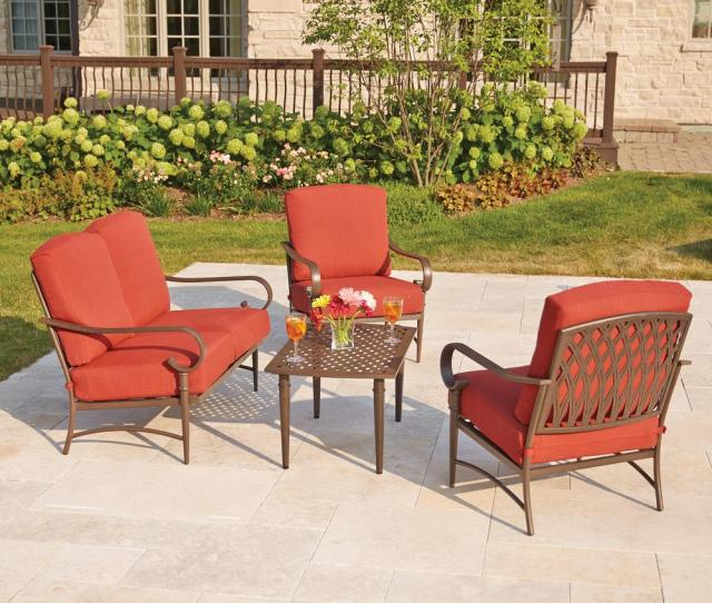 Oak Cliff  Piece Metal Outdoor Deep Seating Set With Chili Cushions