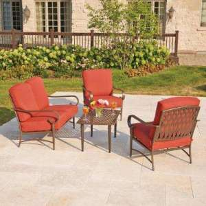 Metal Patio Furniture   Outdoor Lounge Furniture   Patio Furniture     Oak Cliff 4 Piece Metal Outdoor Deep Seating Set with Chili Cushions