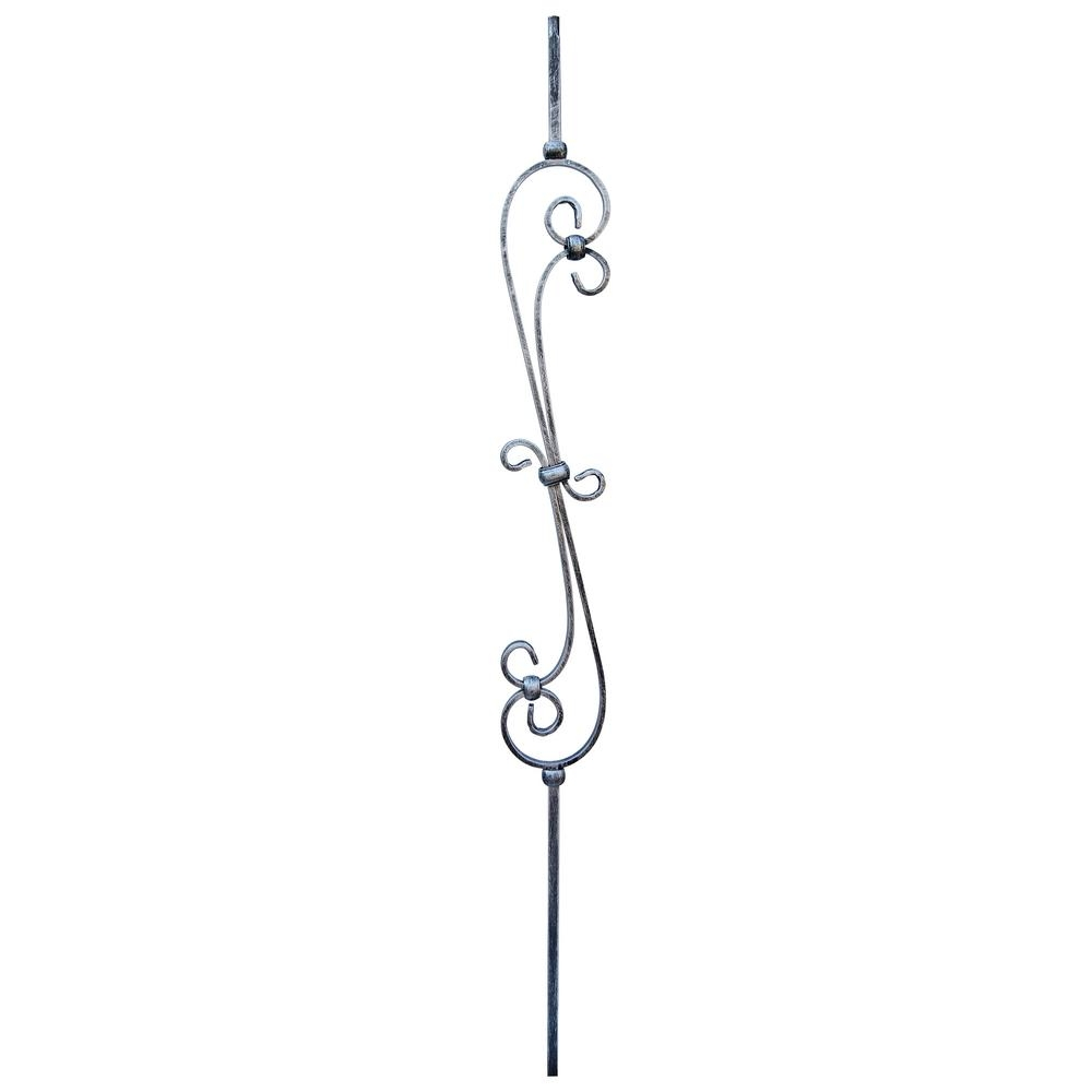 Stair Parts 1 2 In X 44 In Vintage Nickel Double Feather Scroll   Home Depot Metal Balusters   Cedar   Rubbed Bronze   Wrought Iron Balusters   Staircase   Spindles
