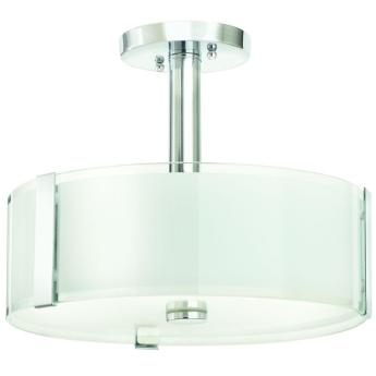 Home Decorators Collection Bourland 14 in. 3-Light Polished Chrome Semi-Flush Mount with Glass Drum Shade