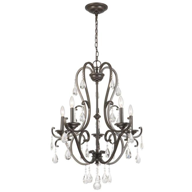 Hampton Bay 5 Light Oil Rubbed Bronze Crystal Chandelier Ihx9115a The Home Depot