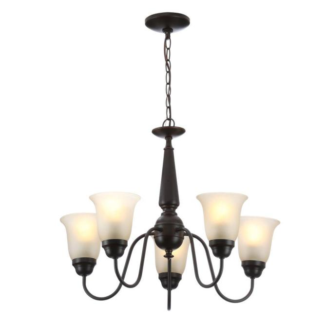 Commercial Electric 5 Light Oil Rubbed Bronze Reversible Chandelier With Tea Stained Glass Shades Efh8195m Orb The Home Depot