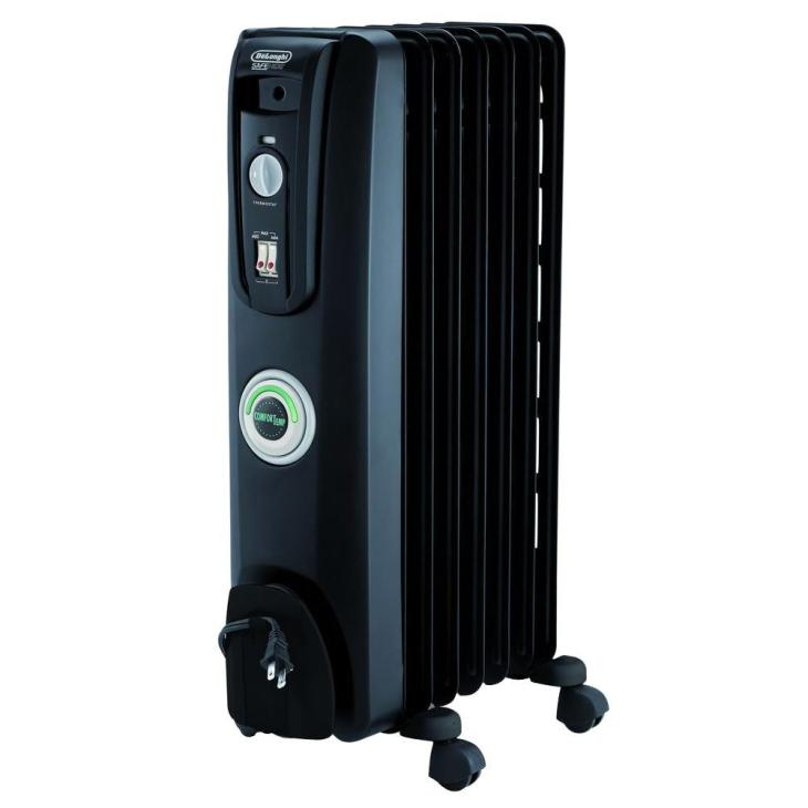 DeLonghi Portable Oil-Filled 7-Fin Radiator - Black