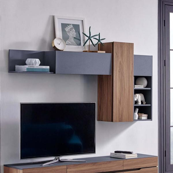 Modway Scope Walnut Gray Wall Mounted Shelves Eei 3440 Wal Gry The Home Depot