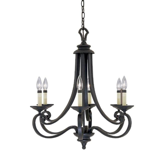 Designers Fountain Monte Carlo 6 Light Hanging Natural Iron Chandelier