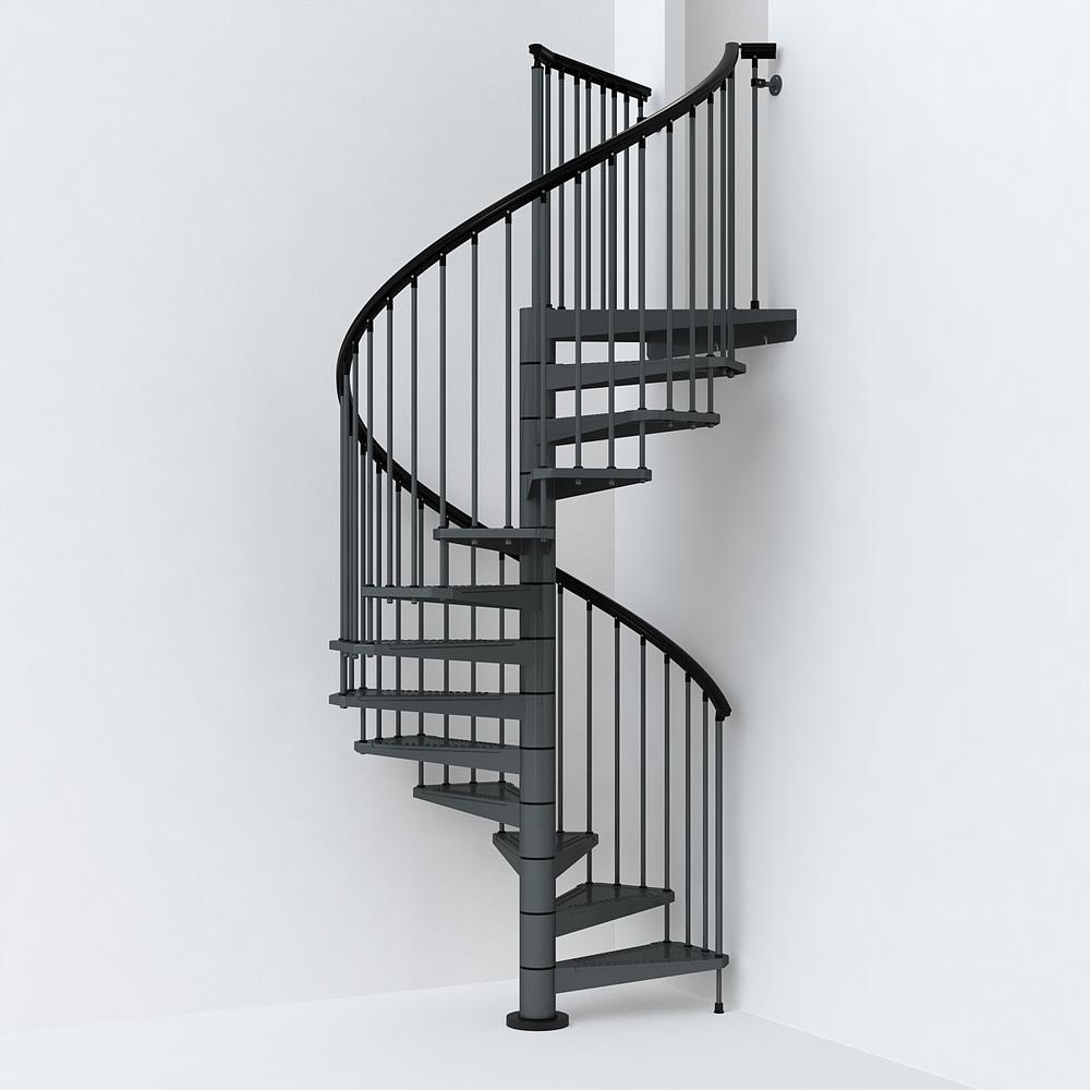 Sky030 63 In Iron Grey Spiral Staircase Kit K26290 The Home Depot | Diy Outdoor Spiral Staircase | Simple | 12 Foot | Metal | Do It Yourself Diy | Curved