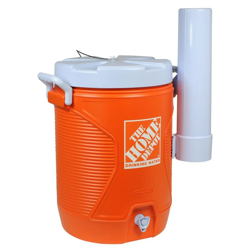 The Home Depot 5 Gal Orange Water Cooler With Cup