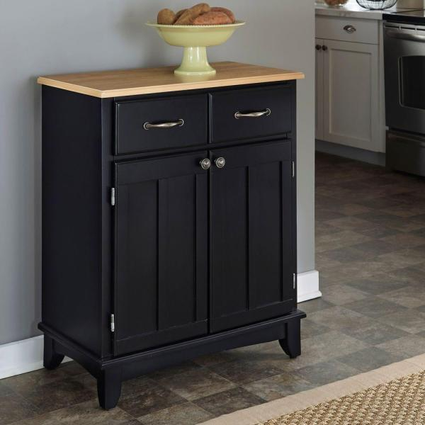 Homestyles Black And Natural Buffet 5001 0041 The Home Depot