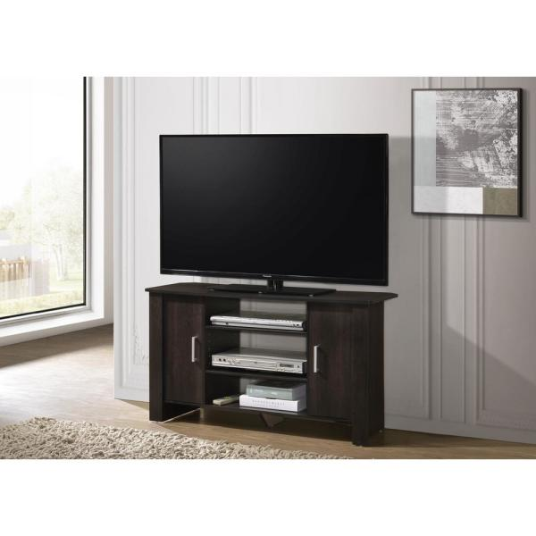 Progressive Furniture Kent 13 In Espresso Wood Tv Stand Fits Tvs Up To 43 In With Storage Doors I332 42 The Home Depot