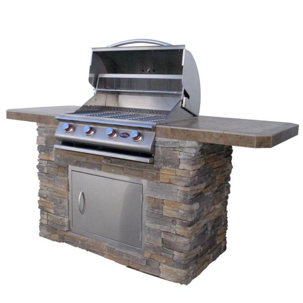 Grill Islands   Outdoor Kitchens   The Home Depot Cultured Stone BBQ Island with 4 Burner Grill in Stainless Steel