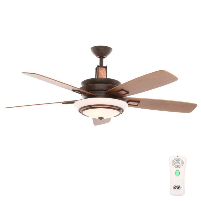 Hampton Bay Sullivan 54 In Indoor Iron Oxide Copper Plated Ceiling Fan With Light Kit And Remote Control 34317 The