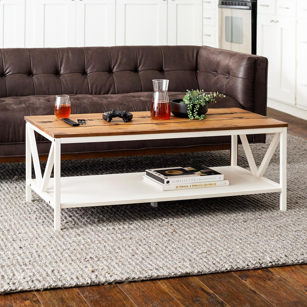 welwick designs 48 in brown white large rectangle wood coffee table with shelf hd8009 the home depot