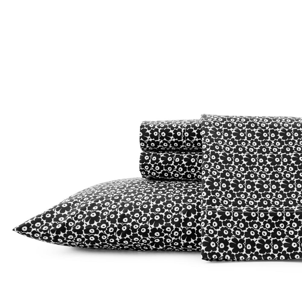 marimekko pikkuinen unikko black 4 piece cotton sheet set full ushsa01116553 the home depot