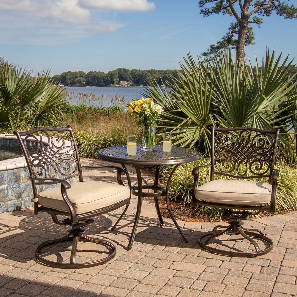 Hanover Traditions 3 Piece Patio Bistro Set With 2 Cast - Hanover Outdoor Furniture