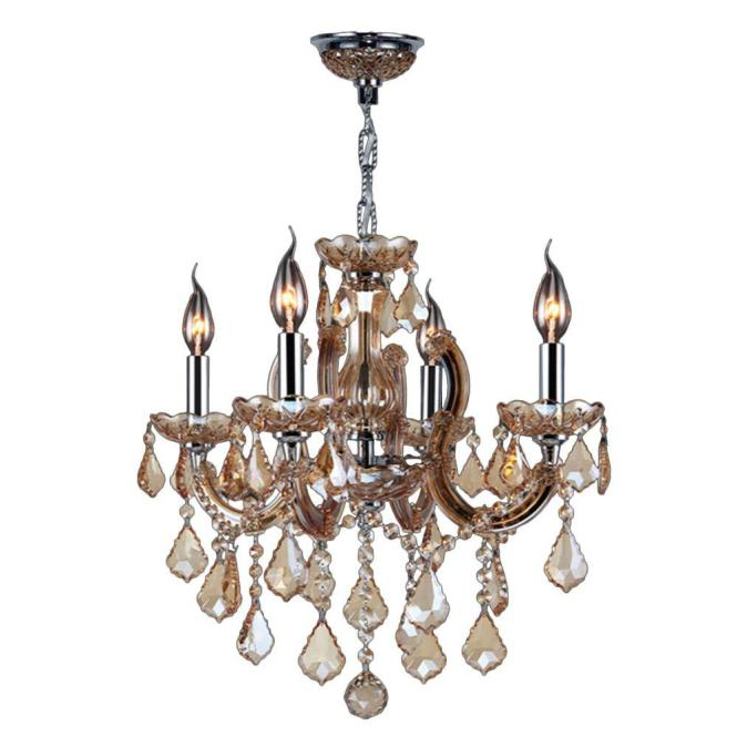 Catherine Collection 4 Light Polished Chrome With Amber Crystal Chandelier