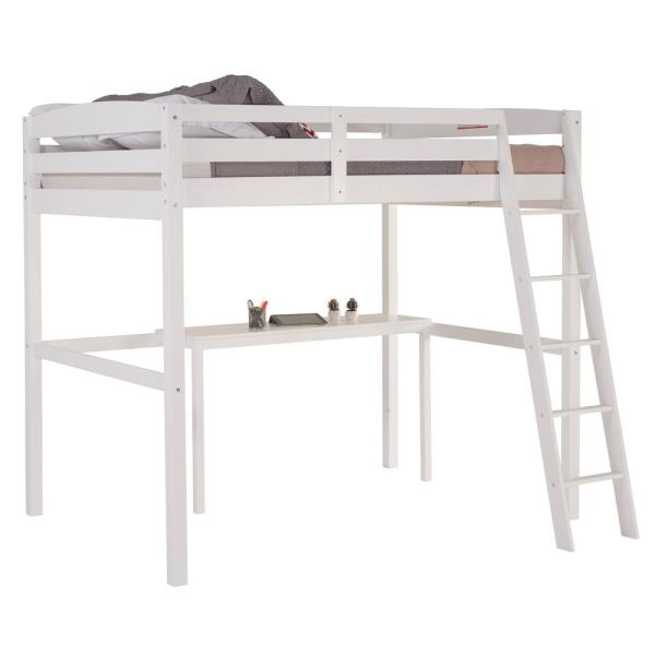 Camaflexi Concord White Full Size High Loft Bed With Desk T1403df The Home Depot