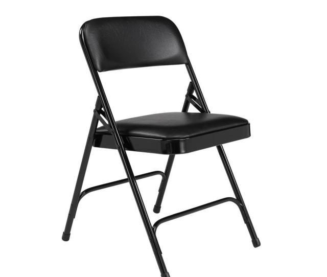 Nps  Series Vinyl Black Upholstered Premium Folding Chair Pack Of