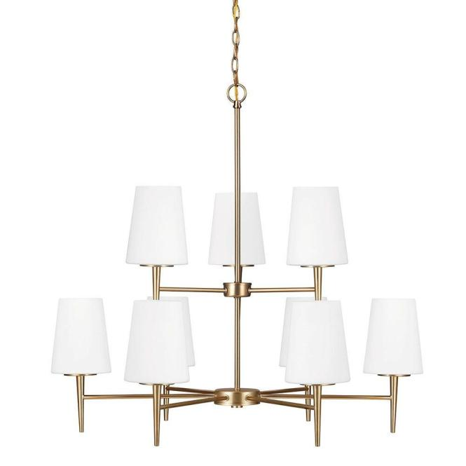 Sea Gull Lighting Driscoll 9 Light Satin Bronze Chandelier With Inside White Painted Etched Glass