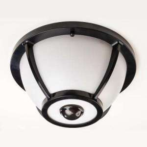 Dusk to Dawn   Outdoor Flush Mount Lights   Outdoor Ceiling Lighting     360 Degree Matte Black Round Integrated LED Motion Sensing Outdoor Flush  Mount