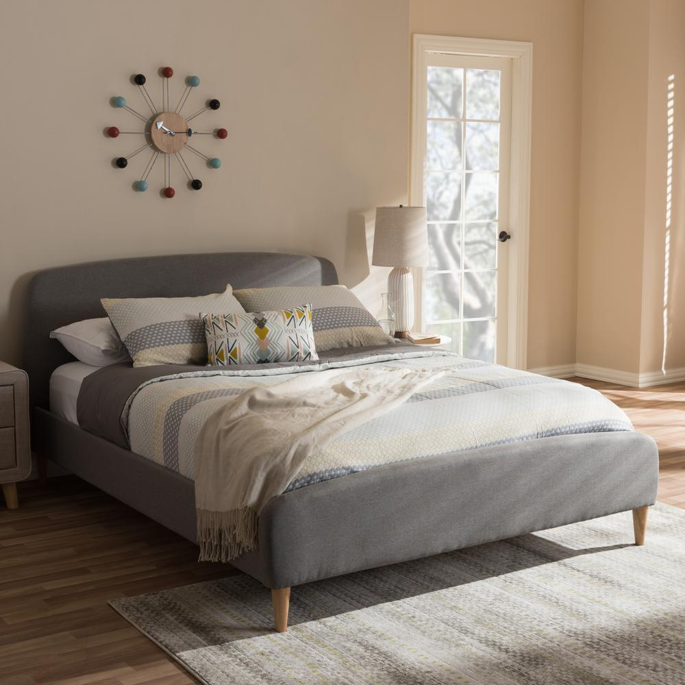Baxton Studio Mia Mid Century Gray Fabric Upholstered