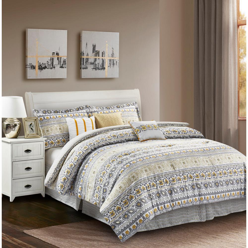 r2zen chloe 7 piece yellow grey king comforter set rz7clylw4 the home depot