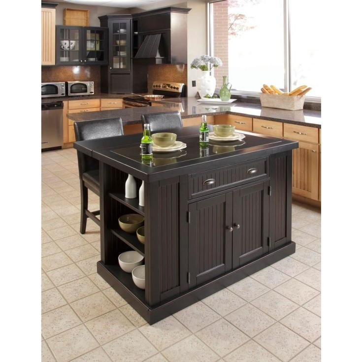 home styles nantucket black kitchen island with granite top-5033-94