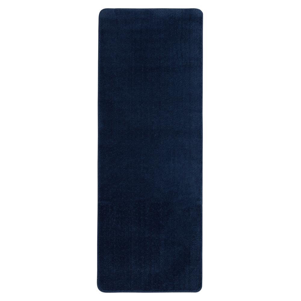 ottomanson solid design navy blue 2 ft. 2 in. x 6 ft. non-slip