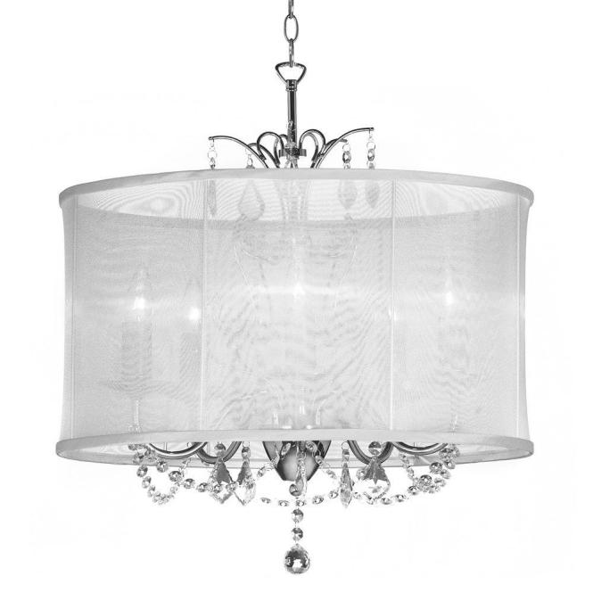 Vanessa 5 Light Polished Chrome Maple Droplets Crystal Chandelier With White