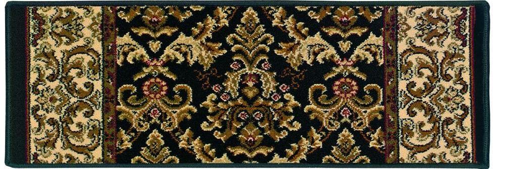 Natco Kurdamir Elegante Black 9 In X 26 In Stair Tread Cover | Black Carpet Stair Treads | Bullnose | Slip Resistant | Interior | Gray | Indoor