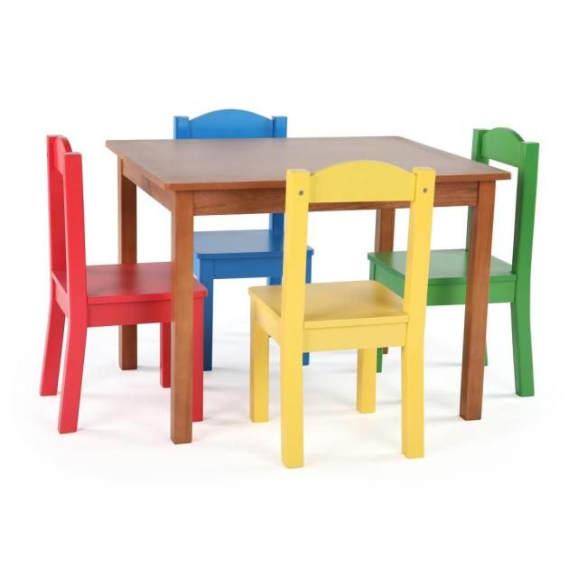 Tot Tutors Highlight 5 Piece Natural Primary Kids Table And Chair Set