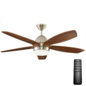 Mission   Ceiling Fans   Lighting   The Home Depot Integrated LED Indoor Brushed Nickel Ceiling Fan with Light Kit and